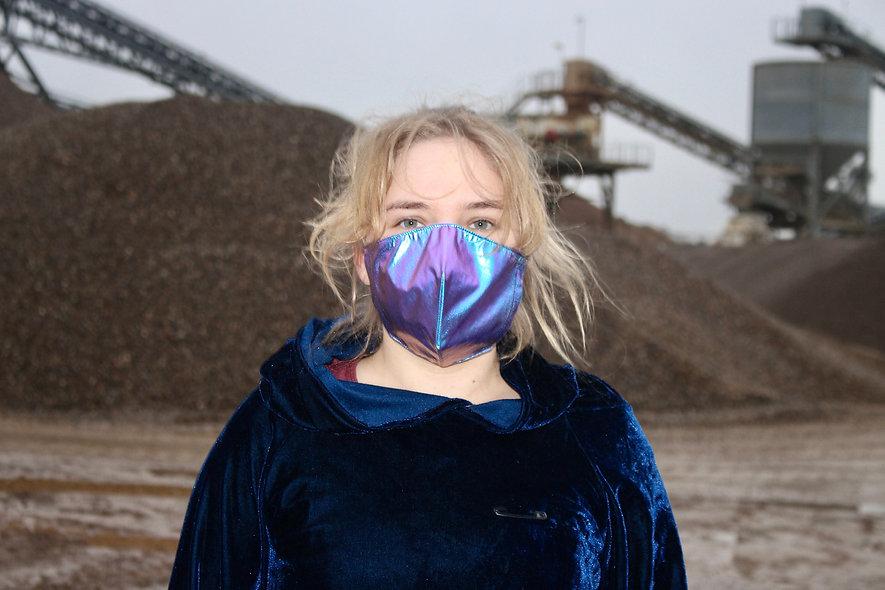 Holo Lila Blau Folie FFP2 & KN95 Masken Überzieher- hannisch
