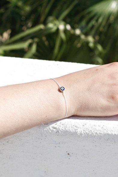Kordel Evil Eye Dunkel Blau Gold Perle Armband/Fußkette