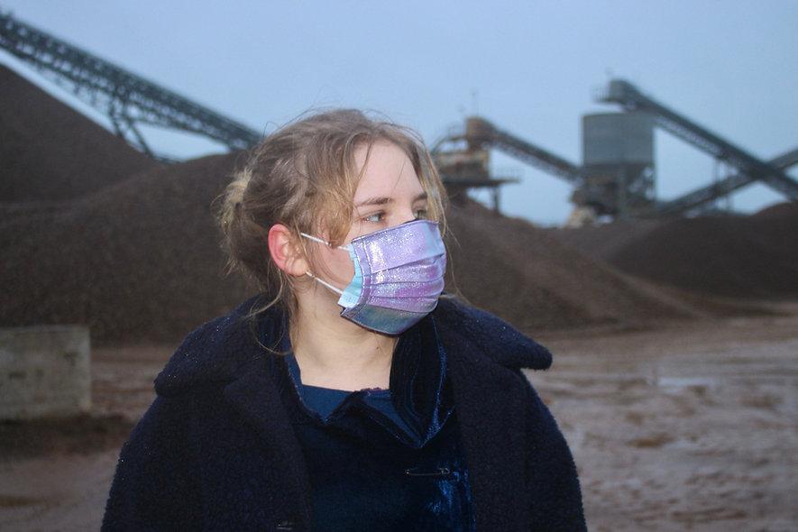 Holo Rosa Blau Kunstleder OP- Masken Überzieher- hannisch