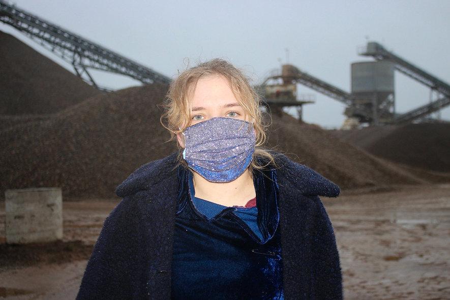 Glitter Holo Lila Blau OP- Masken Überzieher- hannisch