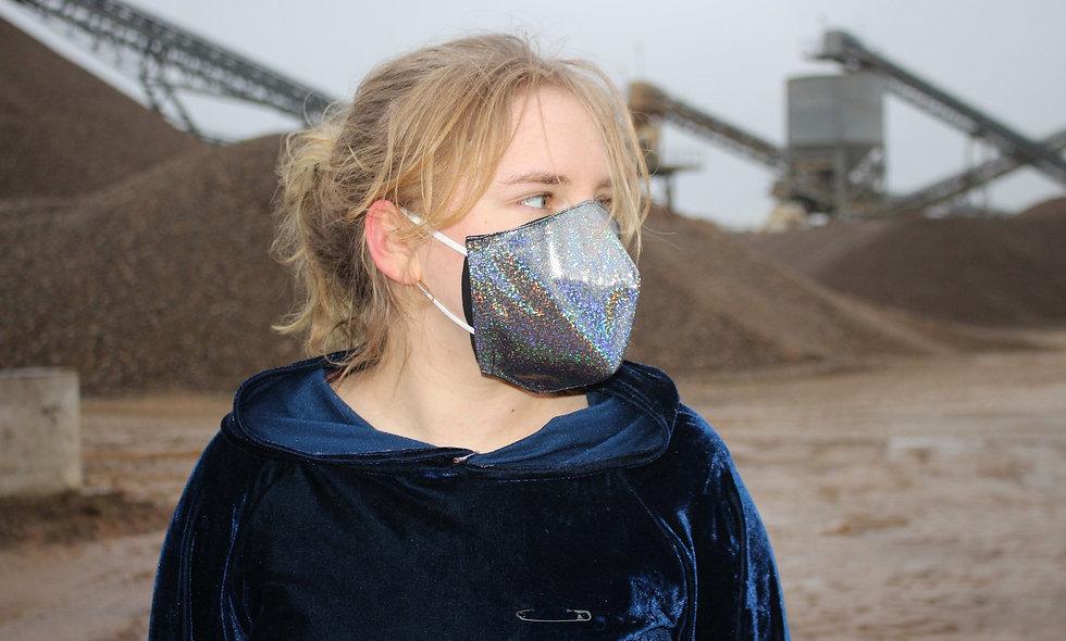 Holo Glitter Schwarz FFP2 & KN95 Masken Überzieher- hannisch