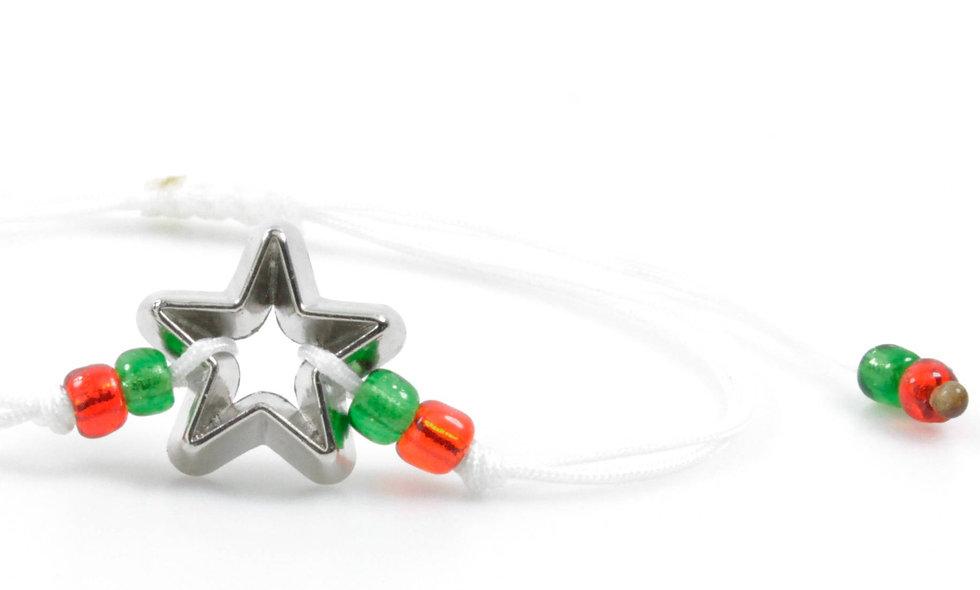 Kordel Stern Ausstecher Silber Armband/Fußkette