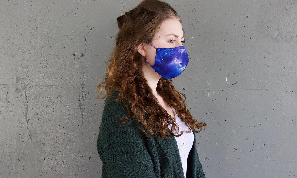 Blau Rosa Galaxy Baumwolle Maske- hannisch