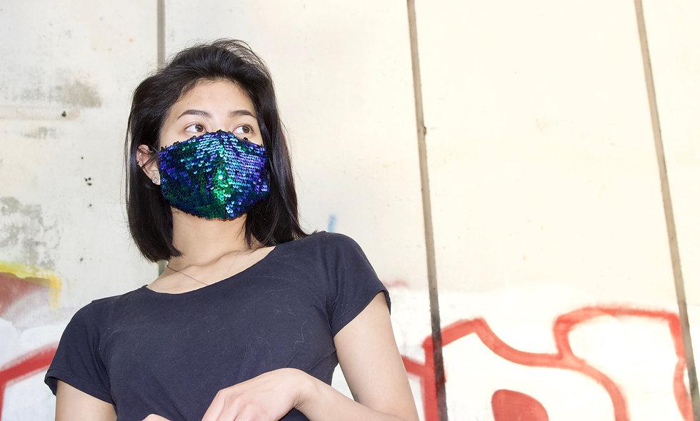 Holographic Kleine Pailletten Blau Grün Maske- hannisch