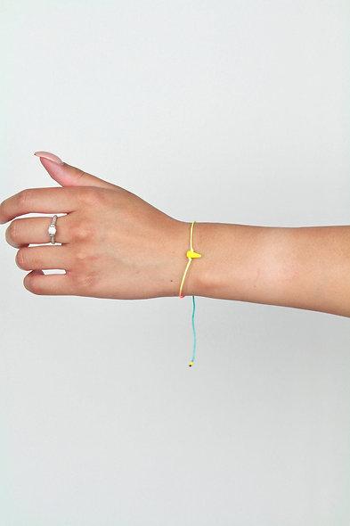 Kordel Horn Neon Gelb Glasperlen Armband/Fußkette