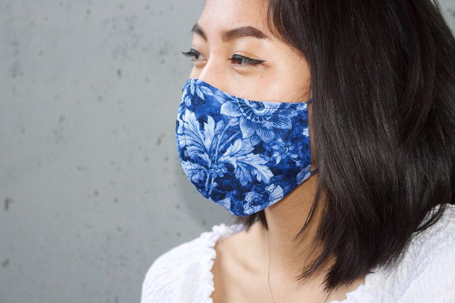 Ornament Blüten Dunkel Blau Maske- hannisch