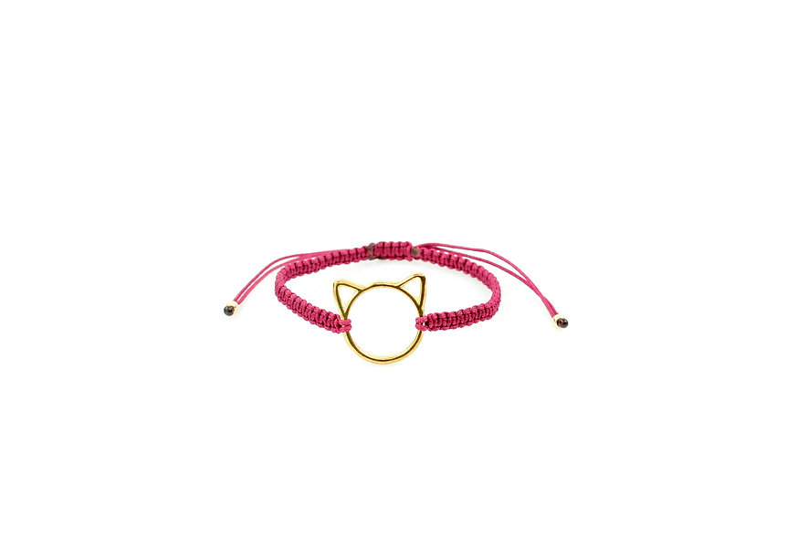 Makramee Katze Gold Armband/Fußkette
