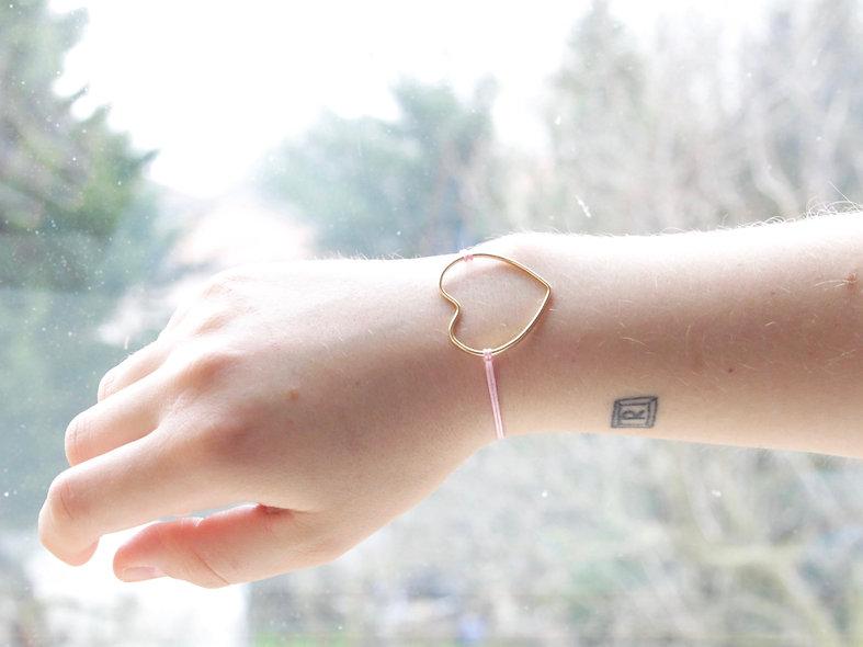 Kordel Draht Herz Gold Armband/Fußkette