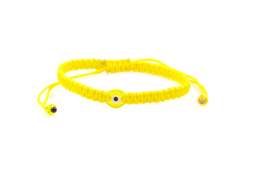 Makramee Evil Eye Gelb Perle Flach Armband/Fußkette