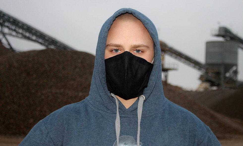 Schwarz Baumwolle FFP2 & KN95 Masken Überzieher- hannisch