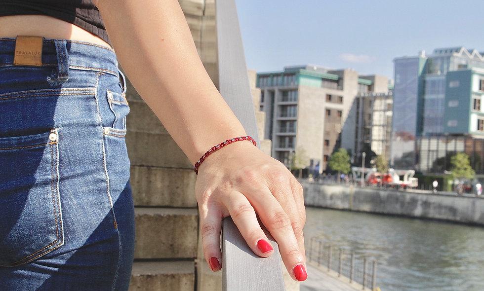 Makramee Würfel Space Gray  Armband/Fußkette