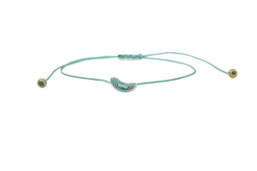Winziger Mond Gold Türkis Kordel Armband/Fußkette