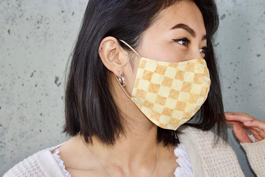 Karo Batik Gelb Maske- hannisch