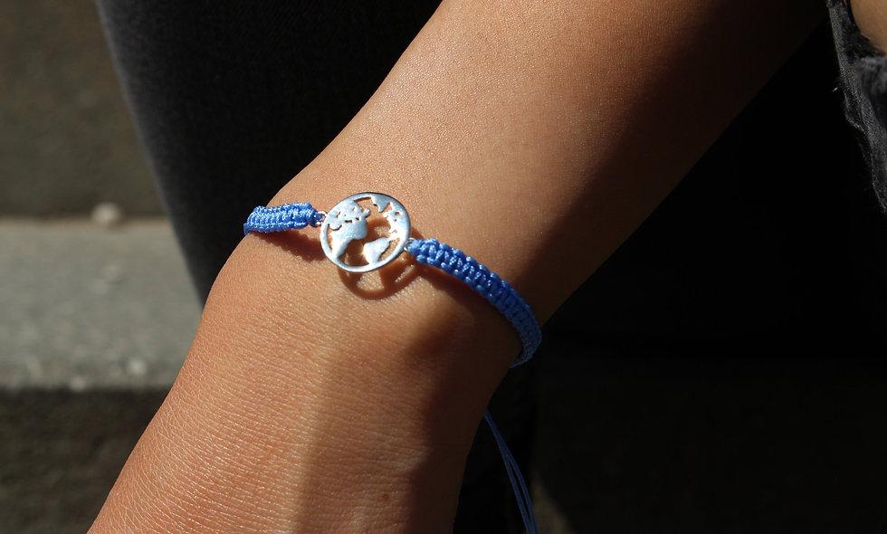 Makramee Weltkarte Silber Armband/Fußkette