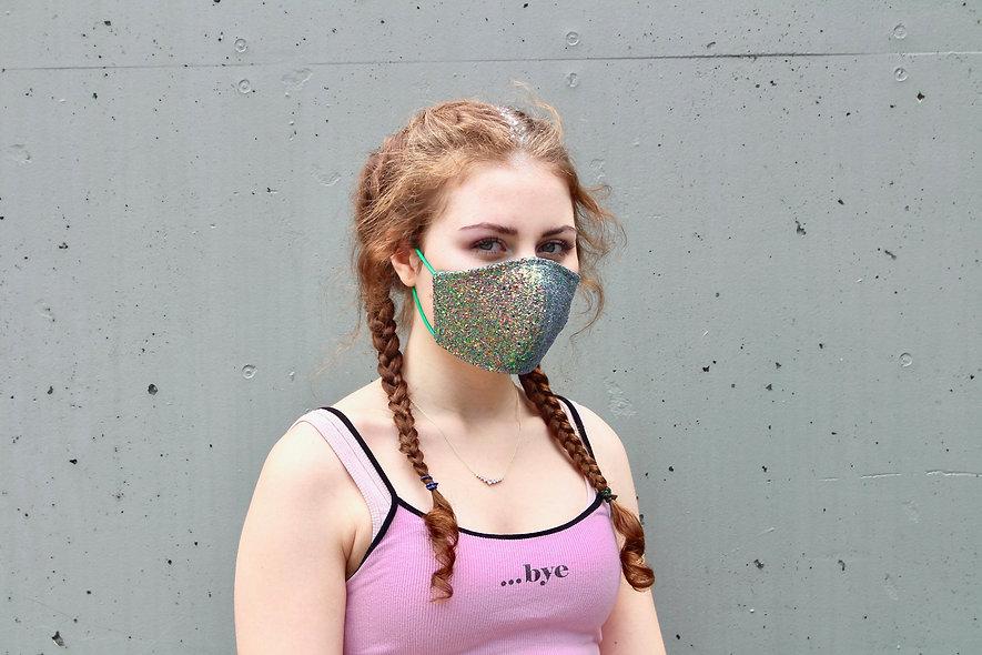 Holographic Grün Glitter Maske- hannisch