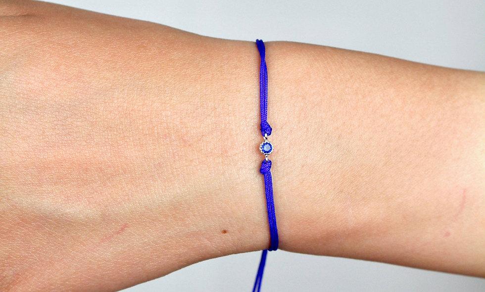 Kordel Winziger Silber Zirkonia Blau Stein Armband/Fußkette