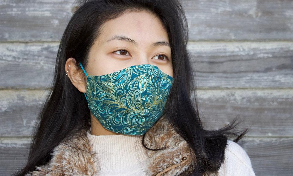 Grün Gold Print Floral Abstrakt Baumwolle Maske- hannisch