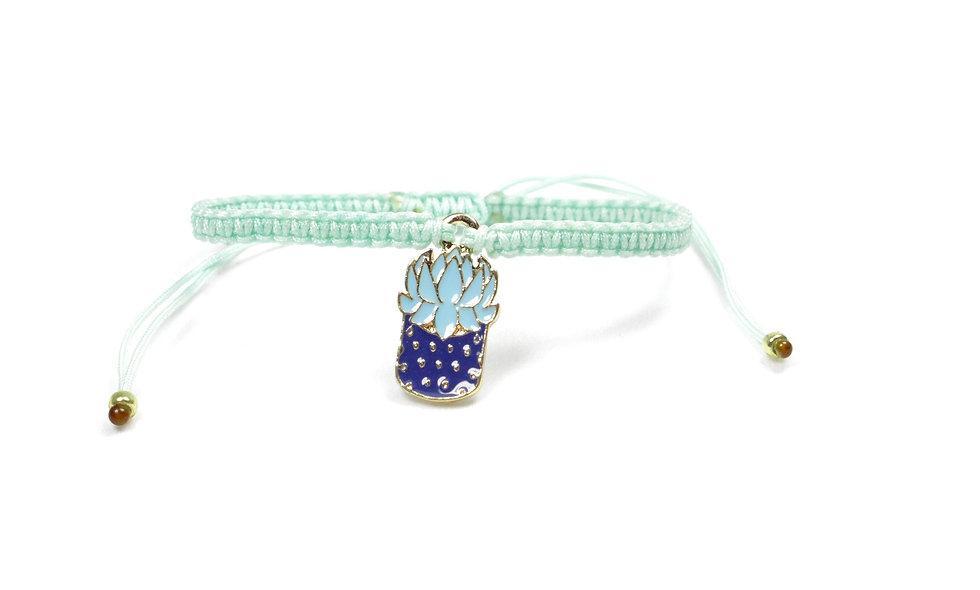 Makramee Sukkulente Kaktus Blau Mint Gold Armband/Fußkette