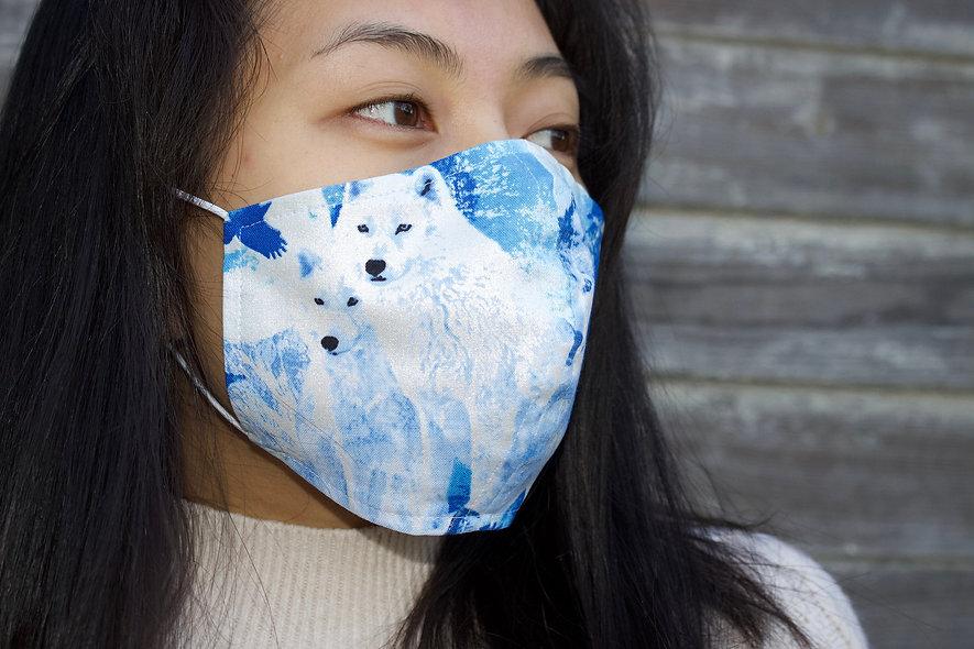 Wölfe Blau Weiß Baumwolle Maske- hannisch