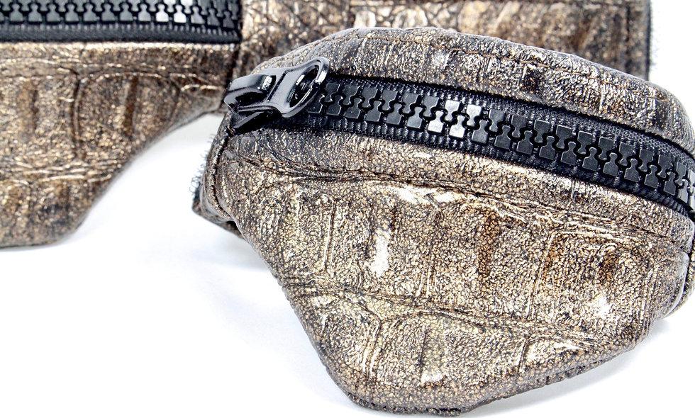 Gelenktasche  Kroko Kunstleder Dunkel Braun Gelenk Tasche - hannisch