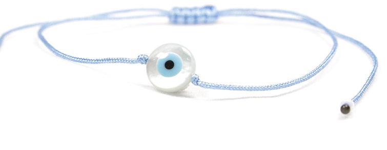 Kordel Perlmutt Süßwasserperle Evil Eye Armband/Fußkette