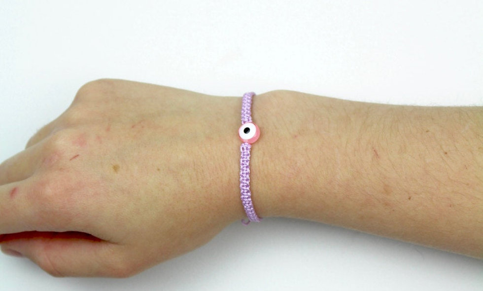 Makramee Evil Eye Rosa Perle  Armband/Fußkette