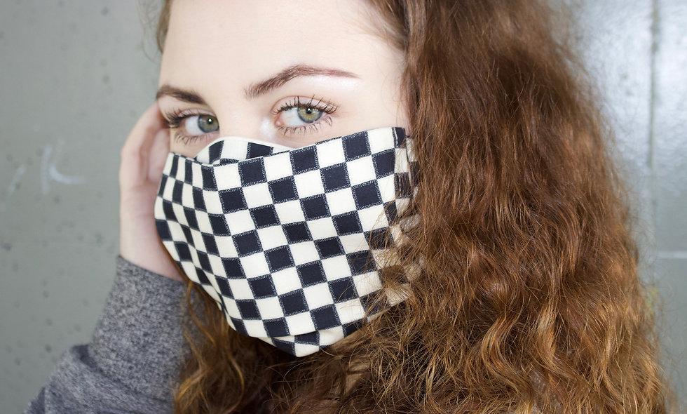 Schwarz Beige Karo Baumwolle Flap Maske- hannisch