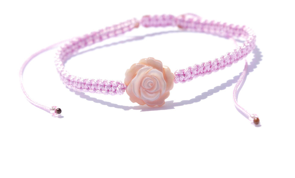 Makramee Rose Perlmutt  Armband/Fußkette