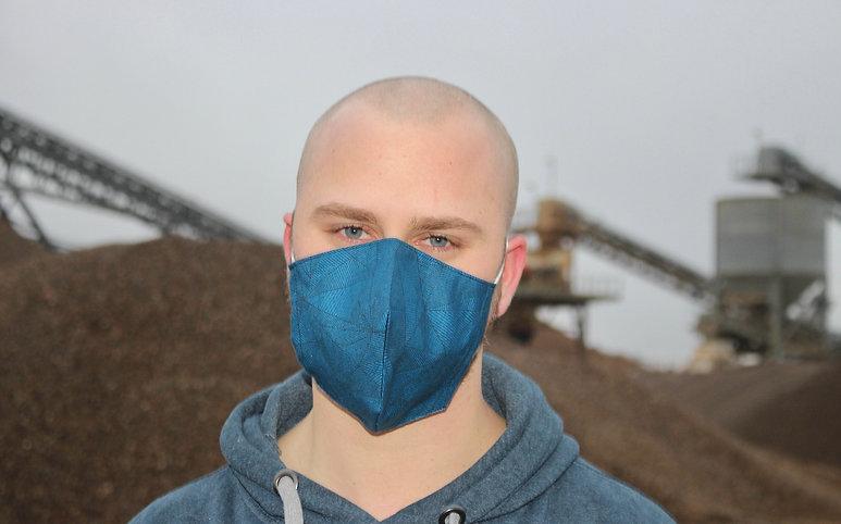 Geometrisch Blau Baumwolle FFP2 & KN95 Masken Überzieher- hannisch