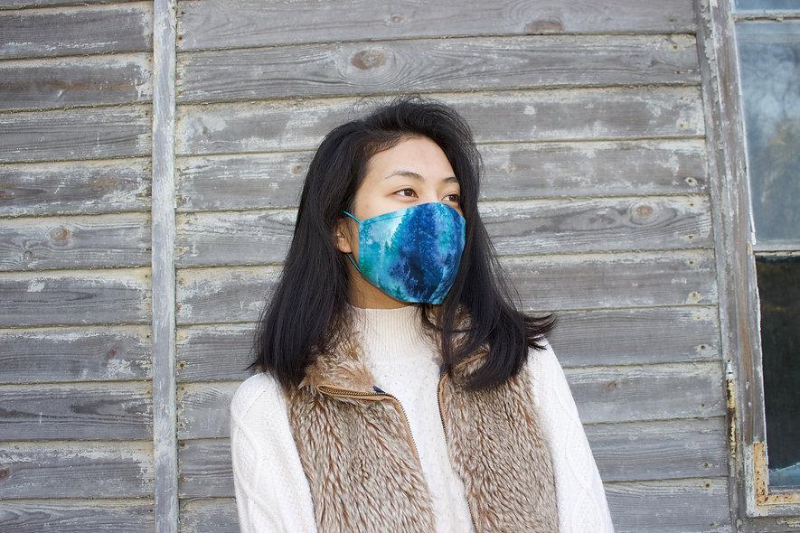 Nebel Wald Grün Blau Flanell Baumwolle Maske- hannisch