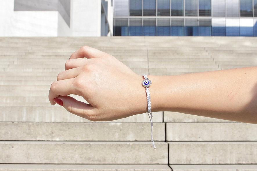 Makramee Evil Eye Plättchen Silver Armband/Fußkette