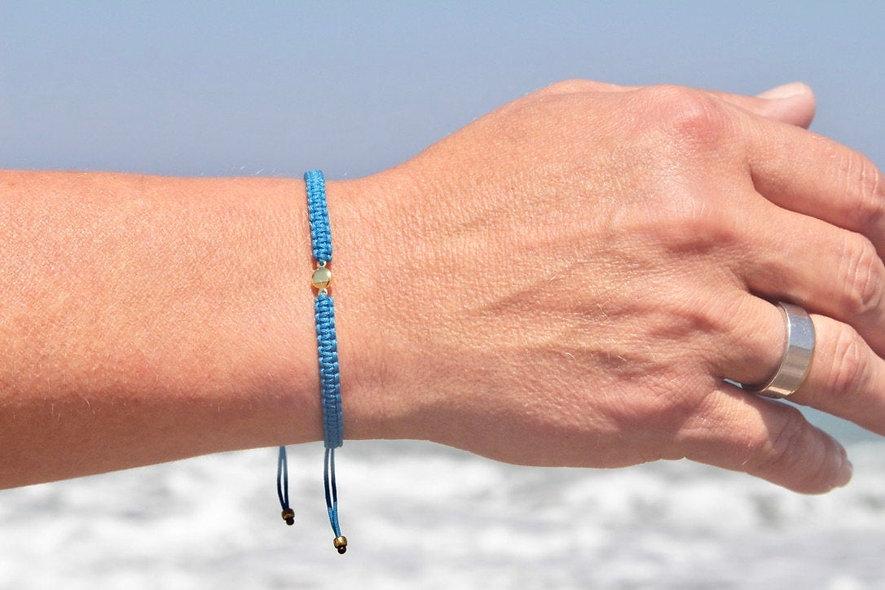 Makramee Gold Plättchen Armband/Fußkette