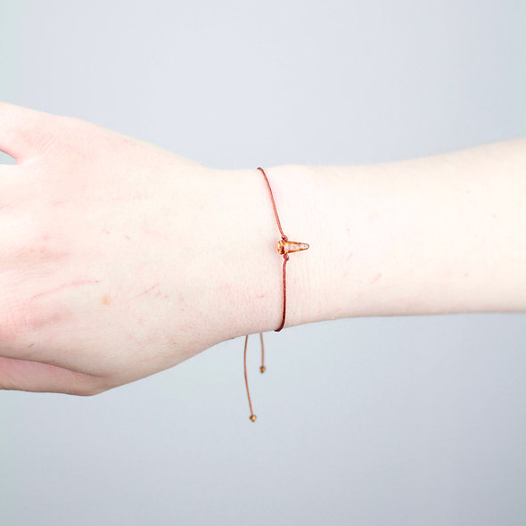 Kordel Horn Natur Transparent Glasperlen Armband/Fußkette