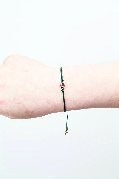 Kordel Marienkäfer Rot Schwarz Gold Bead Armband/Fußkette