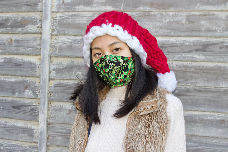 Weihnachtszweige Baumwolle Maske- hannisch
