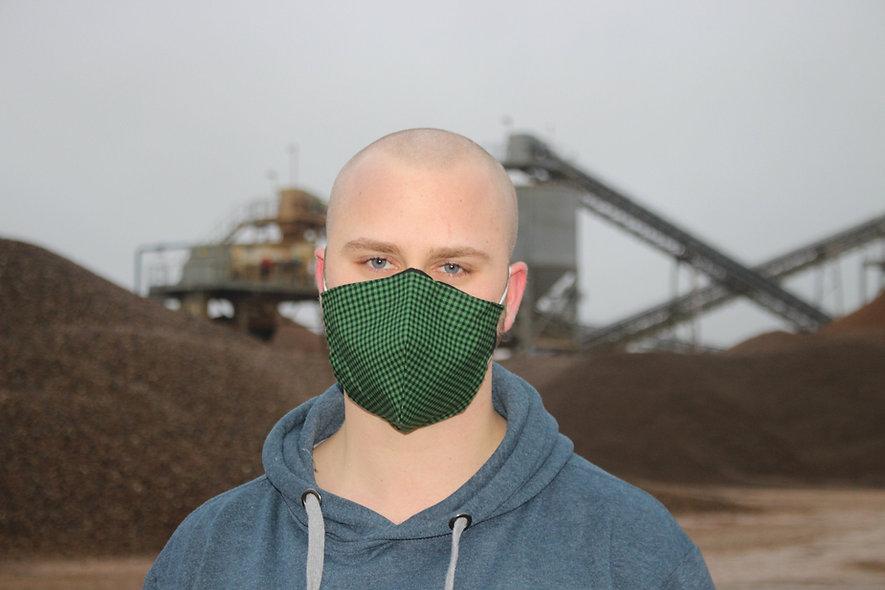 Karo Grün Schwarz Baumwolle FFP2 & KN95 Masken Überzieher- hannisch