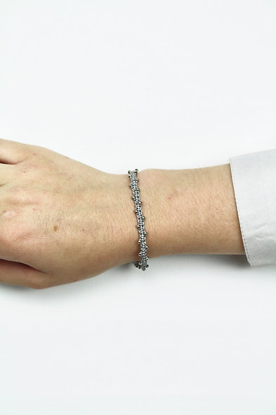 Makramee Winzige Silber Perlen  Armband/Fußkette