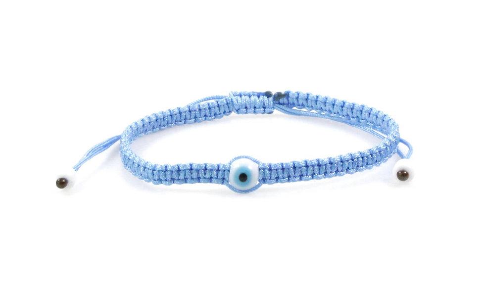 Makramee Evil Eye Weiß Blau Perle Kugel Armband/Fußkette