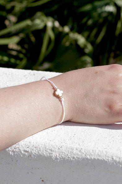 Kordel Gold Kleeblatt Weiß Perlen Armband/Fußkette