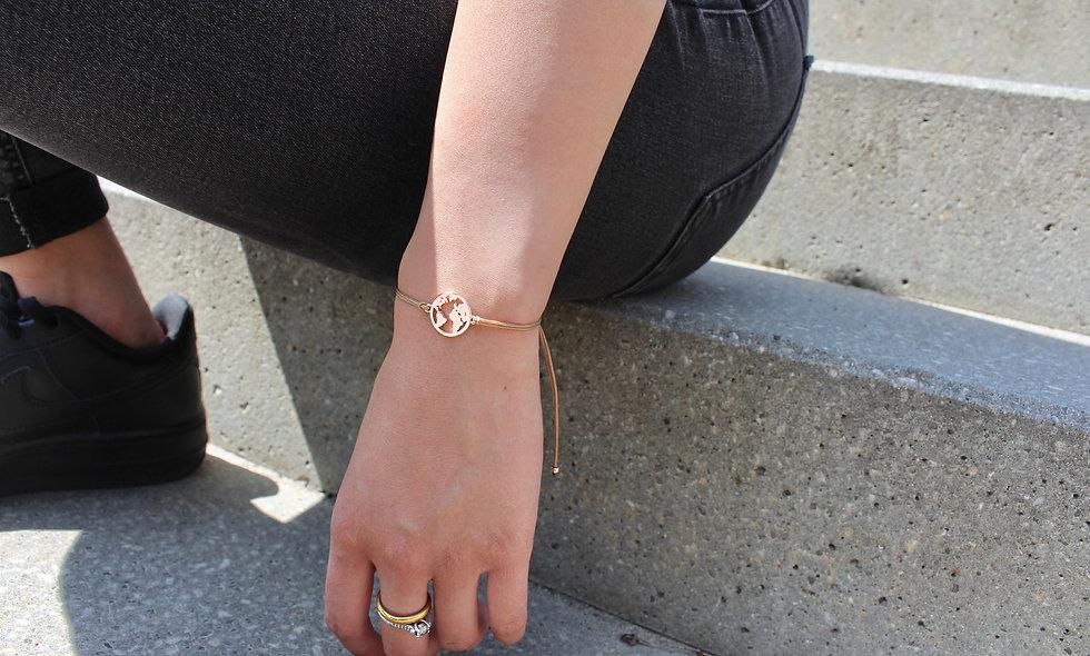Kordel Weltkarte Rosé Gold Armband/Fußkette