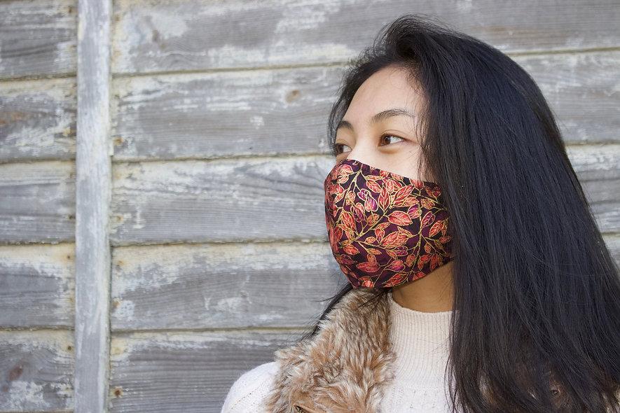 Gold Bordeaux Braun Blätter Baumwolle Maske- hannisch
