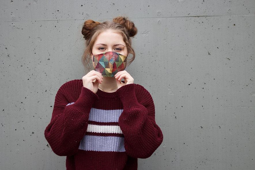 Bunt Geometrisches Muster Baumwolle Maske- hannisch