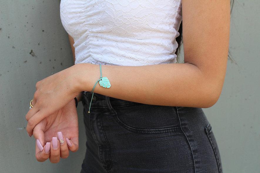 Kordel Blatt Gold Armband/Fußkette