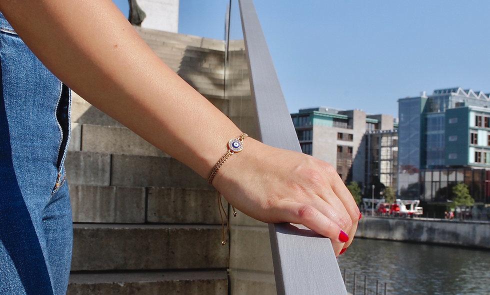 Makramee Evil Eye Plättchen Gold Armband/Fußkette