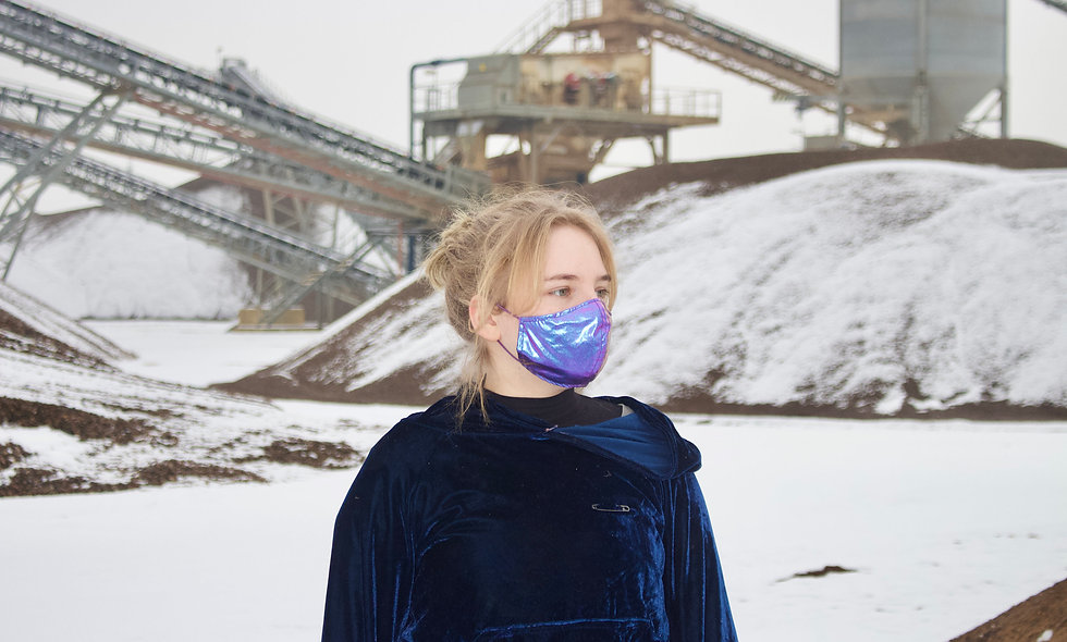 Lila Blau Holo Maske- hannisch