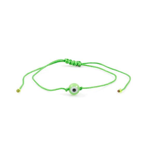Kordel Evil Eye Hell Grün Rund Perle Armband/Fußkette