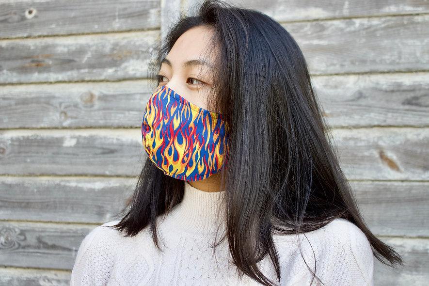 Flammen Blau Baumwolle Maske- hannisch