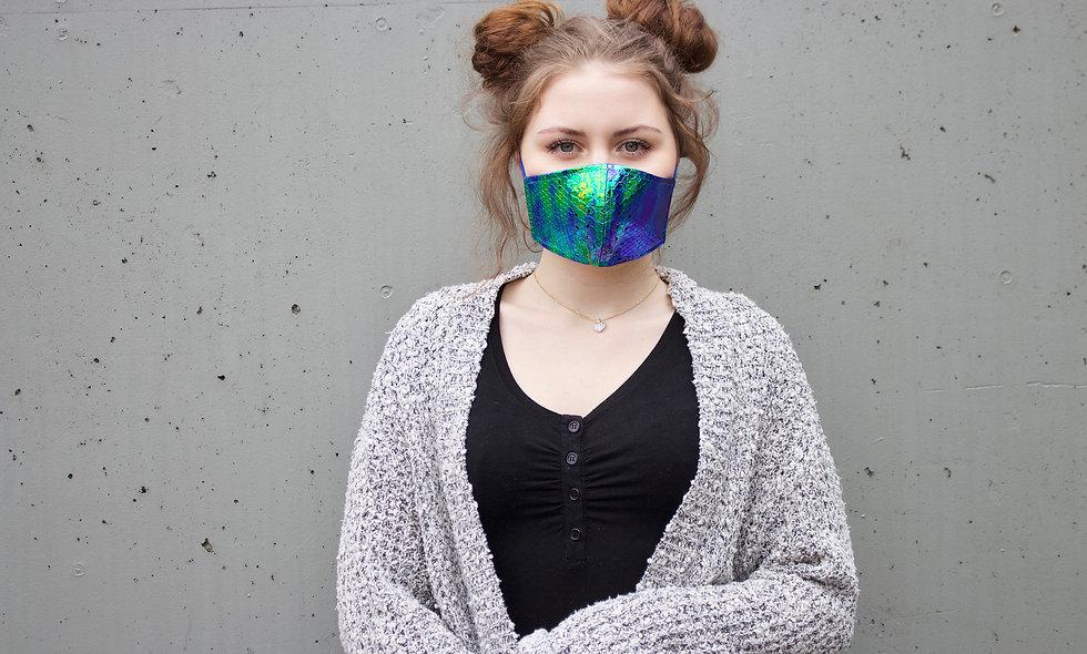 Holographic Croco Blau Maske- hannisch