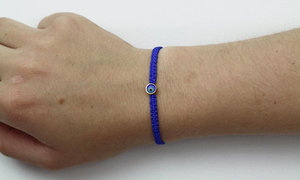 Makramee Evil Eye Blau Gold Perle  Armband/Fußkette