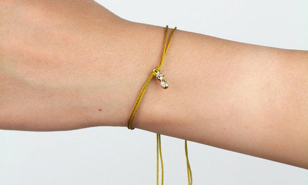 Kordel Ananas Gold Perlen Armband/Fußkette